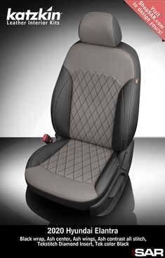 K2184-100 - This is a 2020 Hyundai Elantra seat with Black wrap, Ash center, Ash wings, Ash contrast all stitch, Tekstitch Diamond Insert, Tek color Black. #Katzkin #Hyundai #Elantra Automotive Upholstery, Car Upholstery, Leather Kits, Custom Leather, Peugeot France, Camo Gear, Leather Seat Covers, Leather Interior