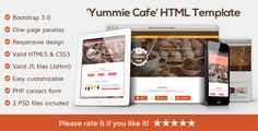 "Yummie - One Page Animated Parallax HTML Template . ""Yummie"" is a responsive one page parallax HTML & CSS3 Cafe Template. It is based on Twitter Bootstrap v3.0. The layout is optimized for mobile devices and it works without errors on all major browsers. The template can be very easily customized as it has all its files very well structured and"