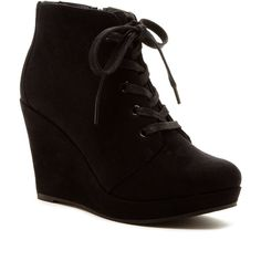 Rampage Wedge Ankle Bootie ($37) ❤ liked on Polyvore featuring shoes, boots, ankle booties, ankle boots, black faux suede, lace up bootie, lace up wedge bootie, platform booties and lace up booties