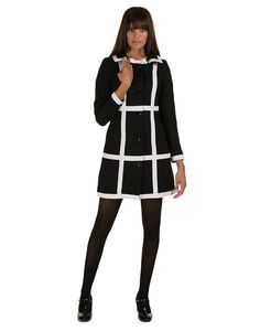 MARMALADE Retro 60s Mod Exploded Check Coat in Black/White