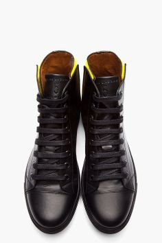 Marc Jacobs Leather Velcro Trimmed Sneakers: Black
