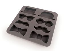 The Gentleman Ice Cube Tray Fun Bow Tie Glasses Mustache Molds 8 Cubes New | eBay