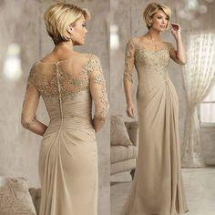Stupendous Lace Embroiderd Chiffon Illusion Yoke Beige and Gold Bridal Sheath Dress