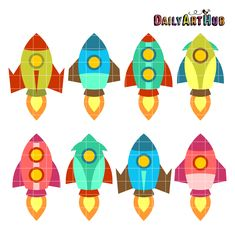 FREE Commercial Clip Art Set for SVG Cuts, Scrapbooking, Embroidery Digitizing, Papercrafts, Teachers, Printables and More! Free for Feb 7th 2015 Only: Old School Rocket Ships Clip Art Set