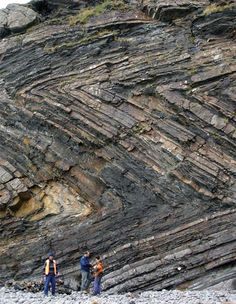 Recumbent chevron folds in Early Pennsylvania graywacke & shale of the Bude Formation at Millook Havem on the no. coast of Cornwall, SW Britain, record the development & deformation of the Varsican foreland basin -- testifying to the closure of the Rheic Ocean during the mid- to Late Pennsyl-vanian Variscan orogeny. GSA Today, Vol.18, #12 (Dec.2009)