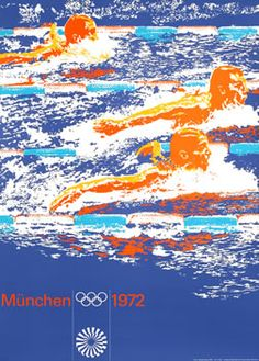 Aicher, Otl poster: Olympic Games 1972 - Swimming (Lg)