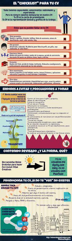 Checklist para tu Curriculum Vitae #infografia #infographic #empleo | TICs y Formación