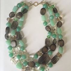 """Stella & Dot statement necklace Stella & Dot statement necklace. Adjustable length: shortest strand is 19"""" & longest is 23"""" - semi precious stones including jade. Stella & Dot Jewelry Necklaces"""