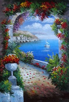 Italian Marbled Archway Along A Hilltop Walkway Above The Mediterranean Sea ~ Mediterranean Naturalism Oil Painting 36 x 24 inches