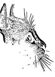 Cat Profile stencil template Stencil Art, Stencils, Cat Profile, Pyrography Patterns, Glass Engraving, Cat Signs, Wood Burning Patterns, Stencil Templates, Cat Face
