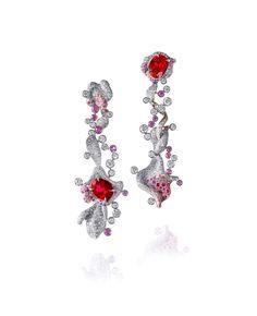 ANNA HU Pe tales Amour Earrings in Ruby