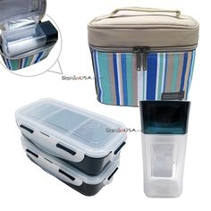 This set includes 2 bento lunch boxes, 1 insulated bento lunch bag, 1 bottle. BPA Free Blue-Green
