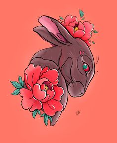 Tattoo sketch with rabbit in red flower Neo Traditional Art, Traditional Tattoo Design, Henna Tattoos, Flower Tattoos, Rabbit Tattoos, Funchal, Tattoo Sketches, Tattoo Art, Red Flowers