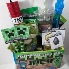 Gifts for Kids: Easy Easter Basket Ideas. Customized Minecraft Easter Party Basket by Epic Event @ Etsy.