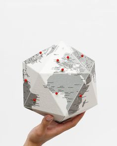 paper globe with 50 markers to leave your footprint on earth!   moonpicnic.com