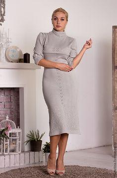 """Купить Платье """"Lux"""" - серый, вязаное платье, ажурное платье, серое платье, платье для офиса"""