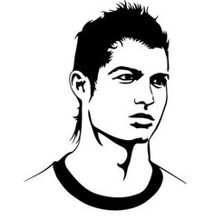 Colorful Drawings, Easy Drawings, Pencil Drawings, Stencil Art, Stencils, Messi Drawing, Soccer Silhouette, People Art, Cristiano Ronaldo