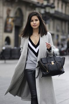 Faux-Leather-Leggings, Long-Grey-Coat