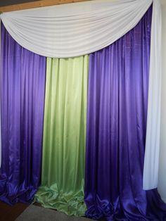 Purple and lime green backdrop  www.decorativeessential.net