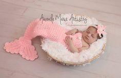 Baby girl, Mermaid Princess  - Crochet Newborn Mermaid Tail Cocoon  & STARFISH HEADBAND,Newborn Photography Prop , under the sea baby shower