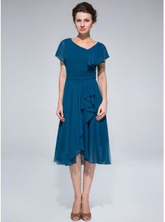 A-Line/Princess Asymmetrical Ruffle Cascading Ruffles Zipper Up at Side Sleeves Short Sleeves No 2014 Ink Blue General Plus Chiffon Mother of the Bride Dress