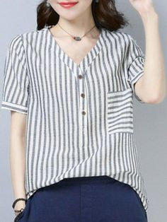 Best 12 Striped Short Sleeve Casual Linen Plus Size T-Shirt Plus Size T Shirts, Plus Size Blouses, Blouse Designs, Blouse Styles, Chic Outfits, Fashion Outfits, Fashion Fashion, Casual Dresses For Women, Clothes For Women