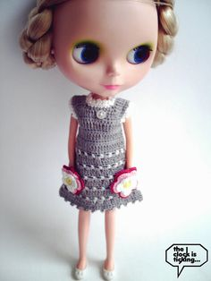 Two flower pockets dress 2/Grey for Blythe by theFuture on Etsy