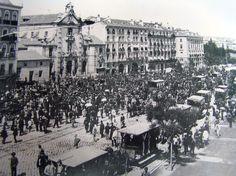 1905 Calle Alcalá esquina con la futura Gran Vía, a la izquierda la Iglesia de San José y la Casa del Cura, donde se iniciarían los derribos.   Portal Fuenterrebollo