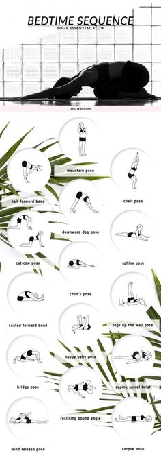 Beat insomnia and boost relaxation with our bedtime essential flow. A 12 minute yoga sequence perfect to soothe your mind and body before bed. Put on your coziest PJs, grab a cup of chamomile tea and unwind! - My Yoga Slim Fitness Del Yoga, Fitness Workouts, Fitness Motivation, Vinyasa Yoga, Yoga Inspiration, Style Inspiration, Yoga Chaud, Cat Cow Pose, Bed Yoga