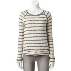 Women's SONOMA Goods for Life™ Striped French Terry Sweatshirt ($20) ❤ liked on Polyvore featuring tops, hoodies, sweatshirts, dark blue, crew neck tops, raglan crewneck sweatshirt, crew neck sweatshirts, crew-neck sweatshirts and long sweatshirt
