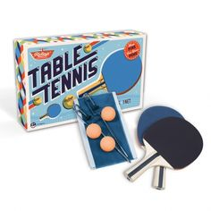 Turn your dining table into a Table Tennis table! Set includes two bats, three balls, one net and a carry bag. Comes in vintage-style packaging. Table Tennis Set, Ping Pong Table Tennis, Presents For Kids, Gifts For Boys, Quirky Gifts, Unique Gifts, Buy Gifts Online, Toys Online, 1960s Inspired