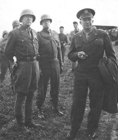 Generals Eisenhower, Patton and Bradley in France shortly after D-Day.