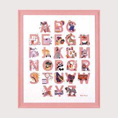 Illustration enfantine rose, Alphabet Bonheur des Dames création Cécile Vessière réf. 2011