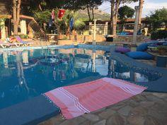 The Aegean Active Towel® at our favorite chill spot, Atilla's Getaway, near stunning Ephesus ruins in Turkey 💧 Turkish Bath, Turkish Towels, Visit Turkey, Spa Towels, Ephesus, Adulting, Beach Towel, Summertime, Explore
