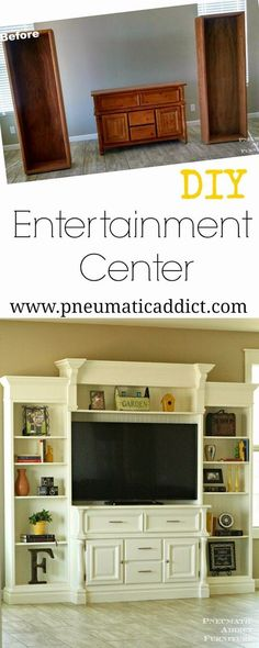 Learn how to take a few thrift store finds and turn them into a large, custom, DIY entertainment center.:
