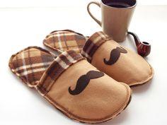 Mens Slippers Fleece Felt Brown Plaid Mustache Moustache Scuffs House Shoes Tan Rustic Grandpa Dad.