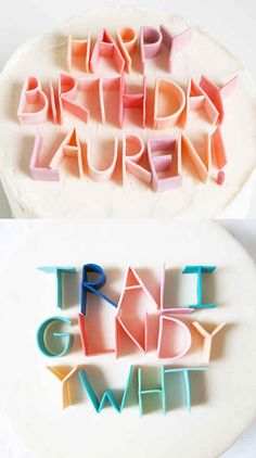 Genial: DIY Kuchen Deko mit buntem Kaugummi *** Cake decoration lettering with coloured gum Pretty Cakes, Cute Cakes, Beautiful Cakes, Awesome Cakes, Yummy Cakes, Bolo Cake, Cake Cover, Diy Cake, Cake Craft