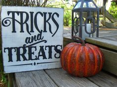 Trick or Treat Wooden Sign,Halloween Decoration,Halloween Party Decor,Halloween Sign,Fall Signs,Halloween Signs,Fall Porch,Front Porch Decor by personallysigned on Etsy https://www.etsy.com/listing/474231361/trick-or-treat-wooden-signhalloween