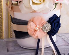Blush and Navy Blue Flower Girl Basket and Ring Bearer Pillow Pink Silver Weddings, Silver Wedding Decorations, Bridesmaid Flowers, Brides And Bridesmaids, Wedding Bouquets, Flower Girl Basket, Flower Girls, Wedding Color Combinations, Satin Ribbon Roses