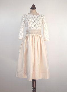 cream lace and cotton tea dress