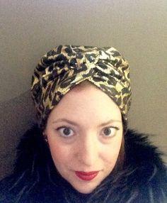 Leopard Print Black and Gold Turban Head Scarf by RogueTurbans