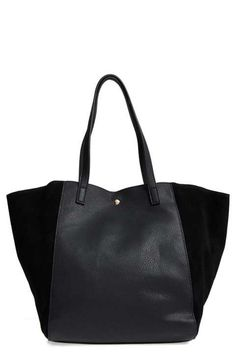 Sole Society Norah Slouchy Faux Leather & Suede Tote