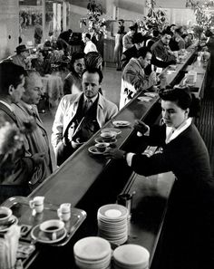 ITALY. Rome. Termini station. 1950. The snackbar, 1st and 2nd class. -- Herbert List