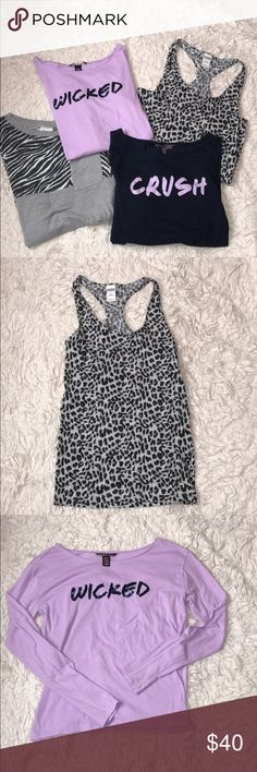 Lot of 4 Victoria's Secret shirts Lot of 4 Victoria's Secret shirts! Tank top is a small. Crush shirt is size small. Wicked is xs. And grey zebra print is xs. They are all in good condition! 2 of the tops are from pink! Victoria's Secret Tops
