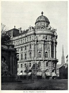 Philipphof, next to the Albertina, c. Site of the Jockey Club. Destroyed WWII, now site of monument against fascism. German Architecture, London Architecture, Vintage Architecture, Classical Architecture, Historical Architecture, Art And Architecture, Architecture Details, Beautiful Architecture, Monuments