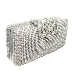 Crown Crystal Pave Hard Case Evening Clutch Handbag with Detachable Chains (Silver) - Click image twice for more info - See a larger selection of Bridal Clutches at  http://zweddingsupply.com/product-category/bridal-clutches/  - woman, woman fashion, wedding, wedding fashion, wedding style, wedding clutch bag, wedding evening bag