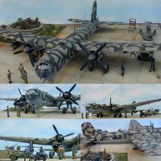 He-177 at Luftwaffe Base 1/48 diorama. Modeler Sam Garcia #scalemodel #plastimodelismo #miniatura #miniature #maqueta #maquette #modelismo #modelisme #modelism #plasticmodel #plamodel #plastickits #usinadoskits #udk #diorama #plastimodelo