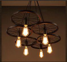 Vintage Industrial Loft Retro DIY Iron Wheel Ceiling Light Pendant Lamp Fixture