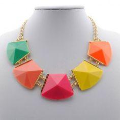 Chic Rhinestone Colorful Geometric Shape Necklace For Women