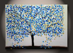 Large Tree Painting, Gold Turquoise Texture on Canvas, Original Abstract Fine Art, living room and bedroom decoration, ready to hang. $235.00, via Etsy.